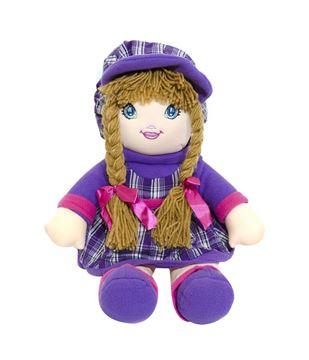Imagem de Boneca de Pano Vestido Roxo Xadrez - Fofy Toys