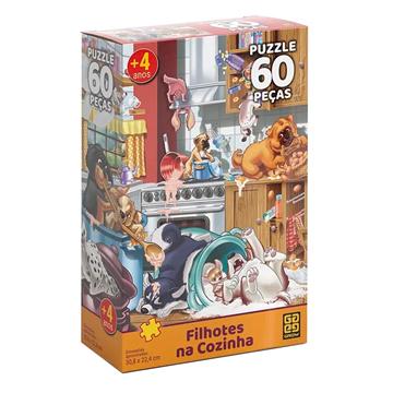 Imagem de Quebra-Cabeça 60 Peças - Filhotes na Cozinha