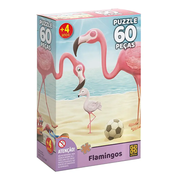 Imagem de Quebra-Cabeça 60 Peças - Flamingos