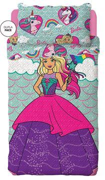 Imagem de Colcha Solteiro 1,60m x 2,20m  - Barbie Reinos Mágicos - Lepper