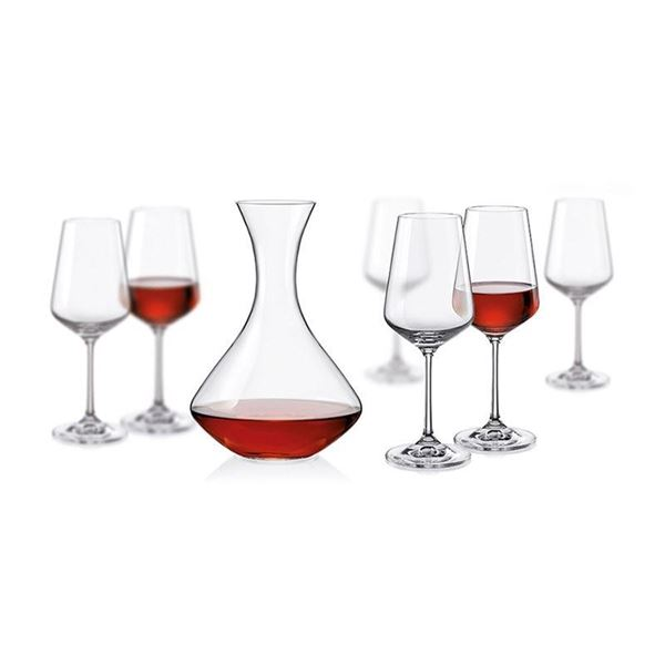 Imagem de Jogo Decanter e Taças para Vinho Sandra - 7 Peças - Bohemia