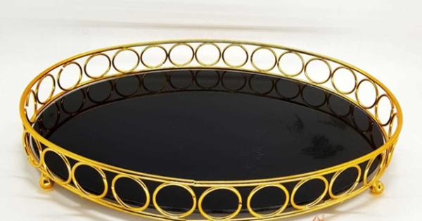 Imagem de Bandeja Espelhada Oval - Grande 40 x 30cm