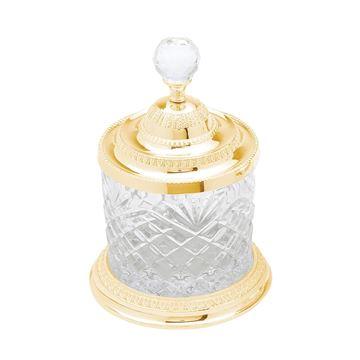 Imagem de Pote Decorativo Multiuso Dourado - Cristal e Zamac - 10,5 x 16,5cm