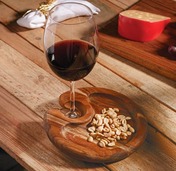 Imagem de Bandeja de Madeira com Taça de Cristal para Vinho 580ml - Woodart
