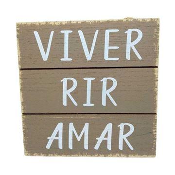 Imagem de Placa Decorativa de Madeira Mensagens - 15 x 15cm