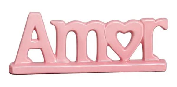 Imagem de Escultura Amor Coração Rosa - 28cm