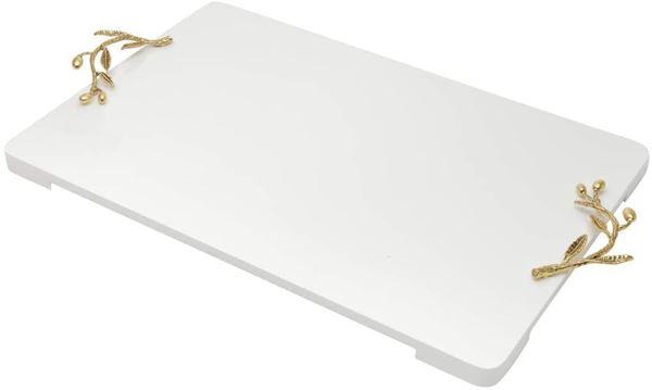 Imagem de Bandeja de Madeira Laqueada Branca Alça Ouro - 45 x 30 cm - Woodart