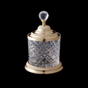 Imagem de Pote Decorativo Multiuso Dourado - Cristal e Zamac - 12,5 x 18,5cm