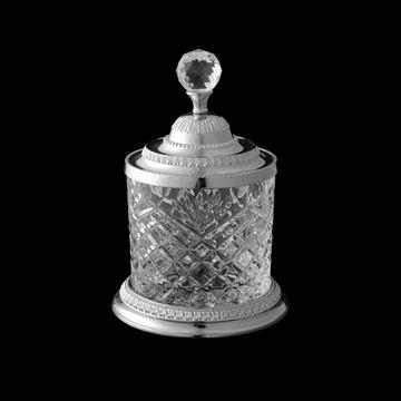 Imagem de Pote Decorativo Multiuso Prateado - Cristal e Zamac - 10,5 x 16,5cm
