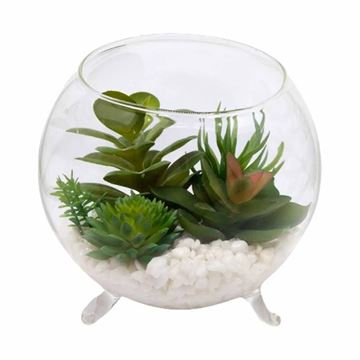 Imagem de Vaso de Vidro com Planta Artificial - 12x14cm