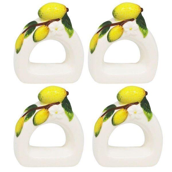 Imagem de Conjunto Anéis para Guardanapos Lemons - 4 Peças - Bon Gourmet