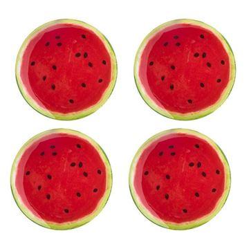 Imagem de Jogo de Pratos para Sobremesa Melancia - 4 Peças - Bon Gourmet