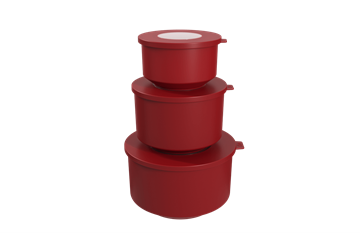 Imagem de Conjunto de Potes Hoop Vermelho Bold - 3 Peças - Coza