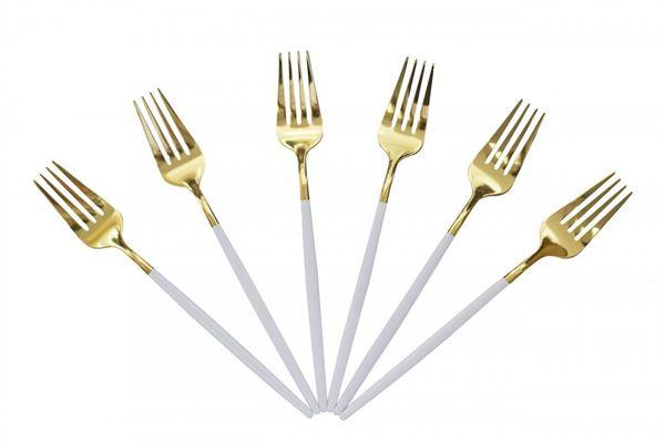 Imagem de Jogo de Garfos para Mesa Slim - Branco com Dourado - 6 Peças