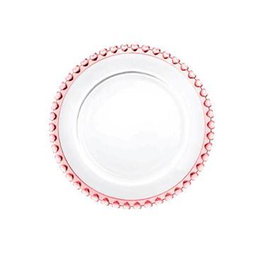 Imagem de Prato para Sobremesa Coração Borda Rosa - Lyor